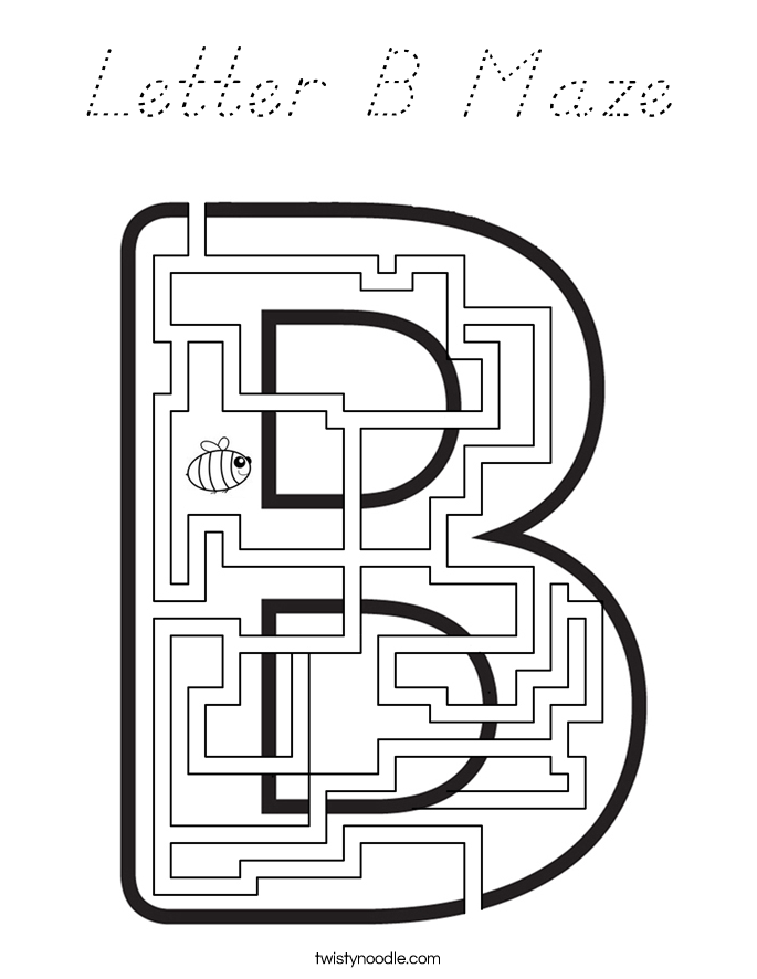 Letter B Maze Coloring Page