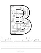 Letter B Maze Handwriting Sheet