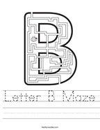 Letter B Maze Handwriting Sheet