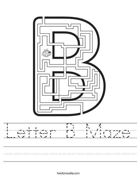 Letter B Maze Worksheet