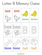 Letter B Memory Game Coloring Page
