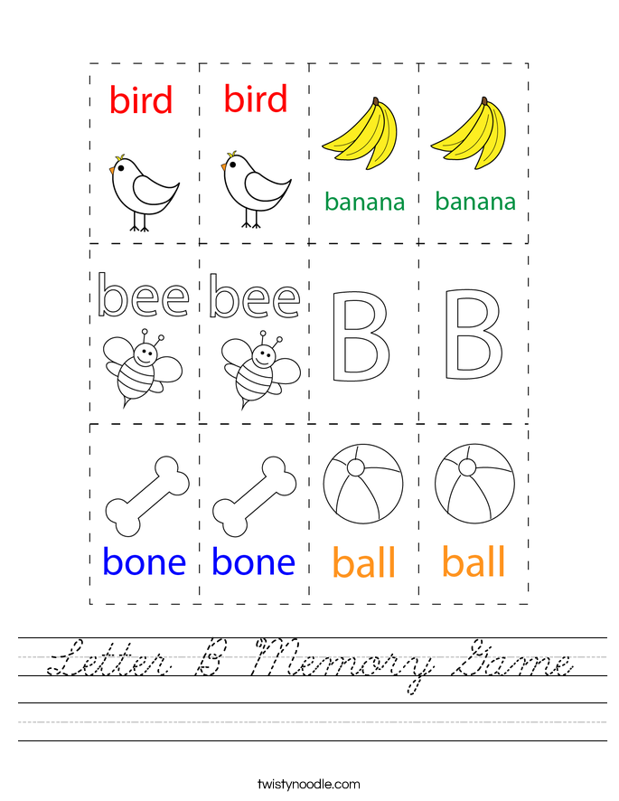 Letter B Memory Game Worksheet