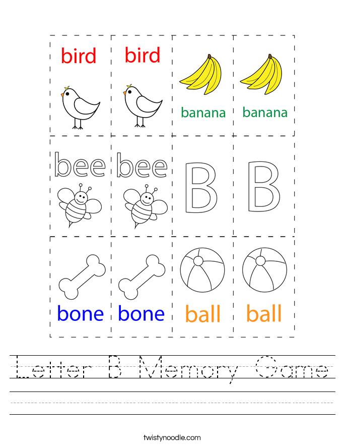 Letter B Memory Game Worksheet