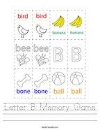 Letter B Memory Game Handwriting Sheet