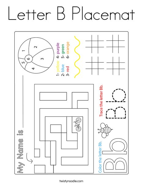 Letter B Placemat Coloring Page