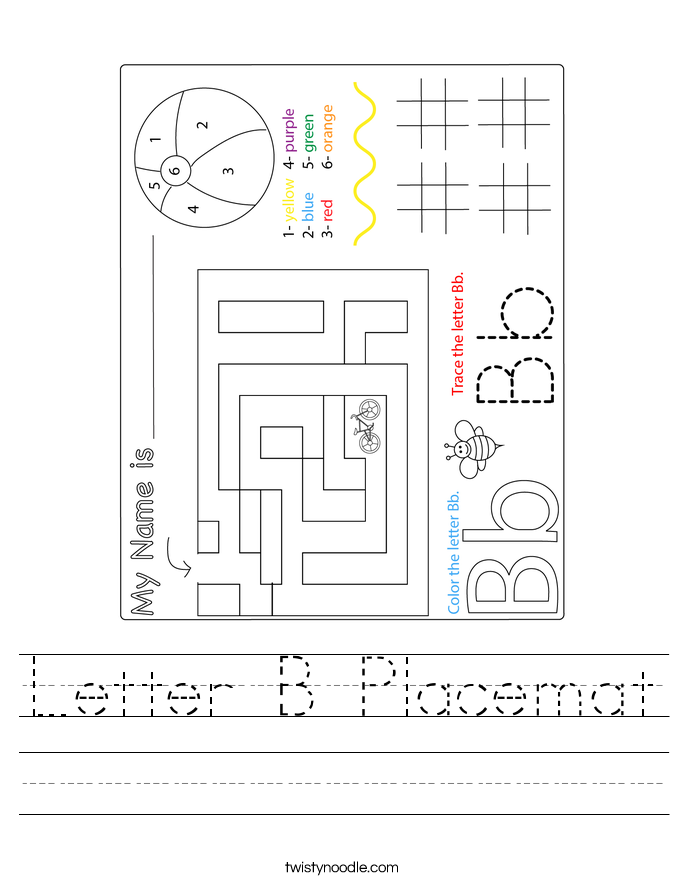 Letter B Placemat Worksheet