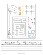 Letter B Placemat Handwriting Sheet