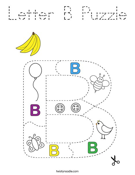 Letter B Puzzle Coloring Page