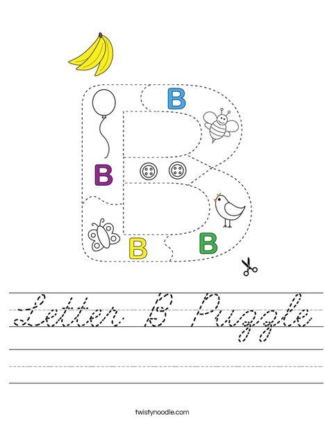 Letter B Puzzle Worksheet - Cursive - Twisty Noodle