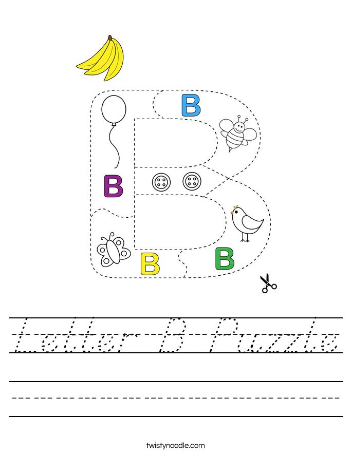 Letter B Puzzle Worksheet - D'Nealian - Twisty Noodle