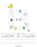 Letter B Puzzle Handwriting Sheet
