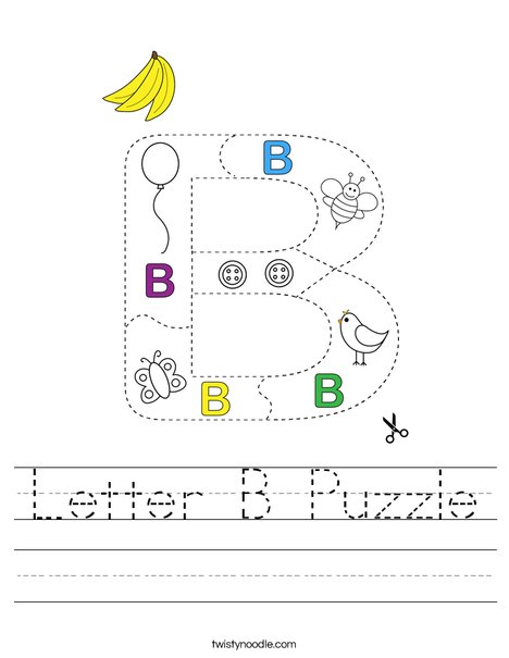 Letter B Puzzle Worksheet