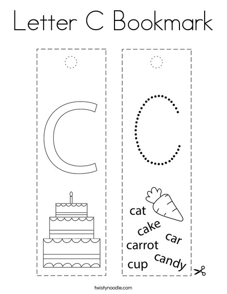 Letter C Bookmark Coloring Page