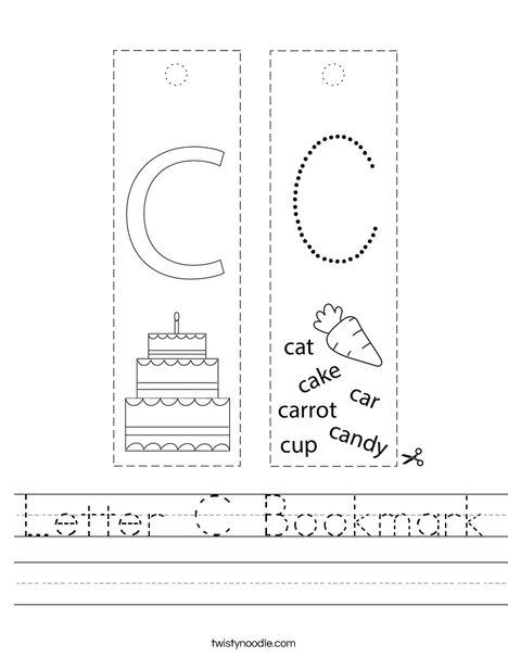 Letter C Bookmark Worksheet