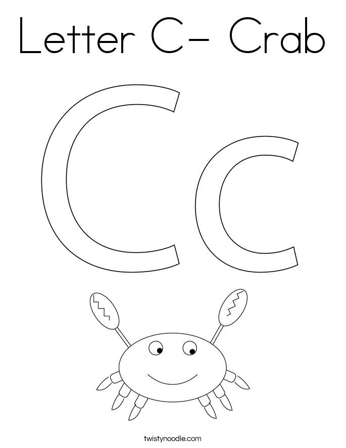Letter C- Crab Coloring Page