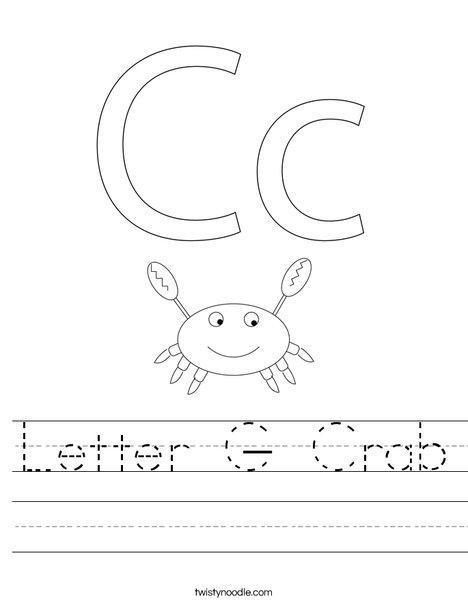 Letter C- Crab Worksheet