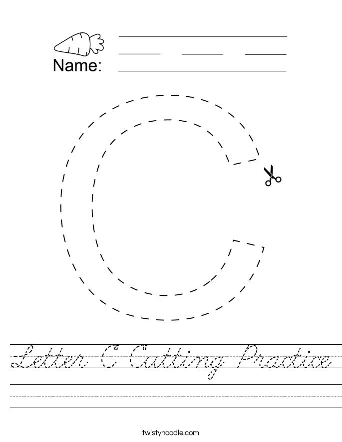 Letter C Cutting Practice Worksheet