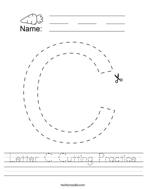 Letter C Cutting Practice Worksheet