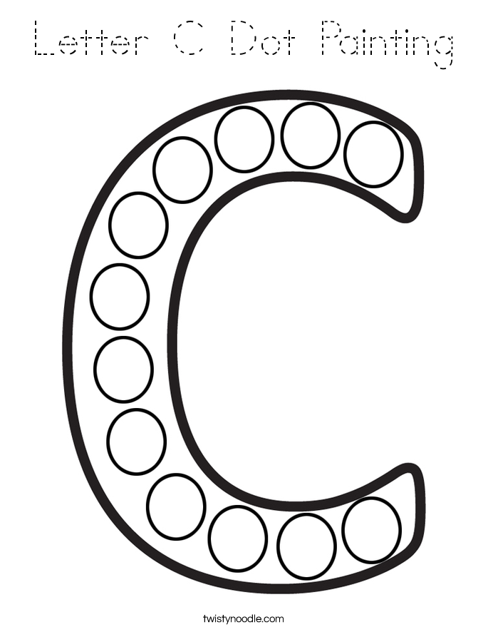 Letter C Dot Painting Coloring Page - Tracing - Twisty Noodle