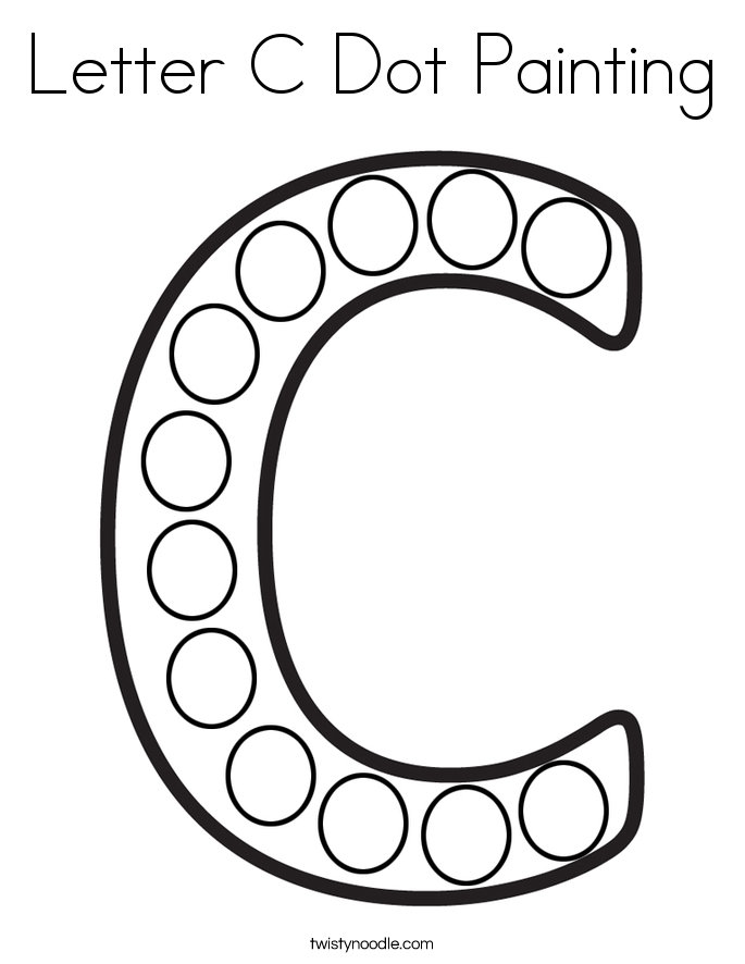 Letter C Dot Painting Coloring Page