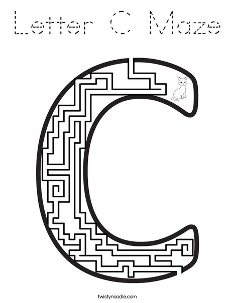 Letter C Maze Coloring Page