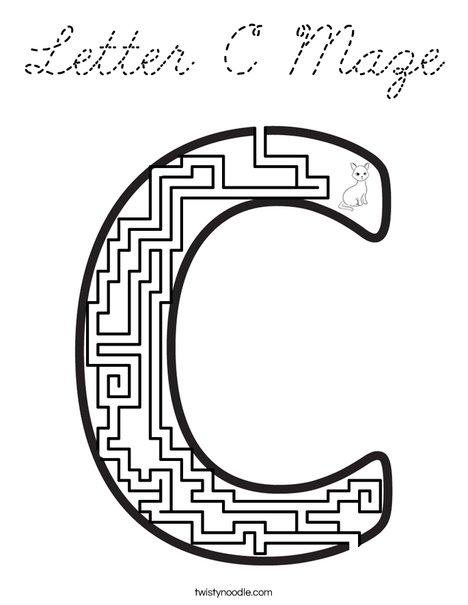 Letter C Maze Coloring Page