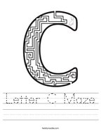 Letter C Maze Handwriting Sheet