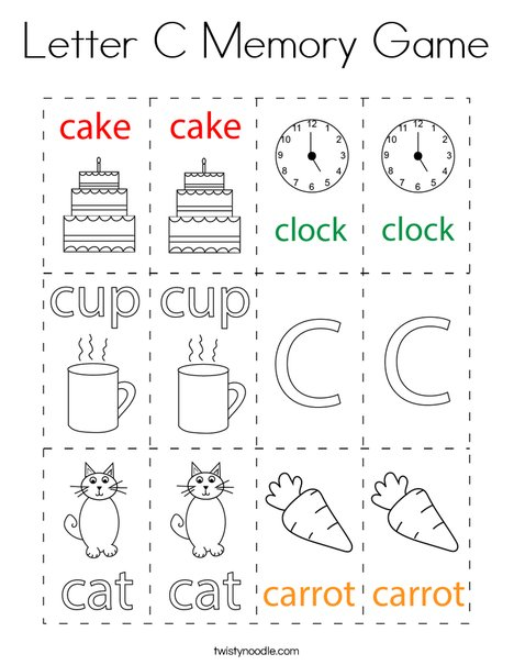 Letter C Memory Game Coloring Page