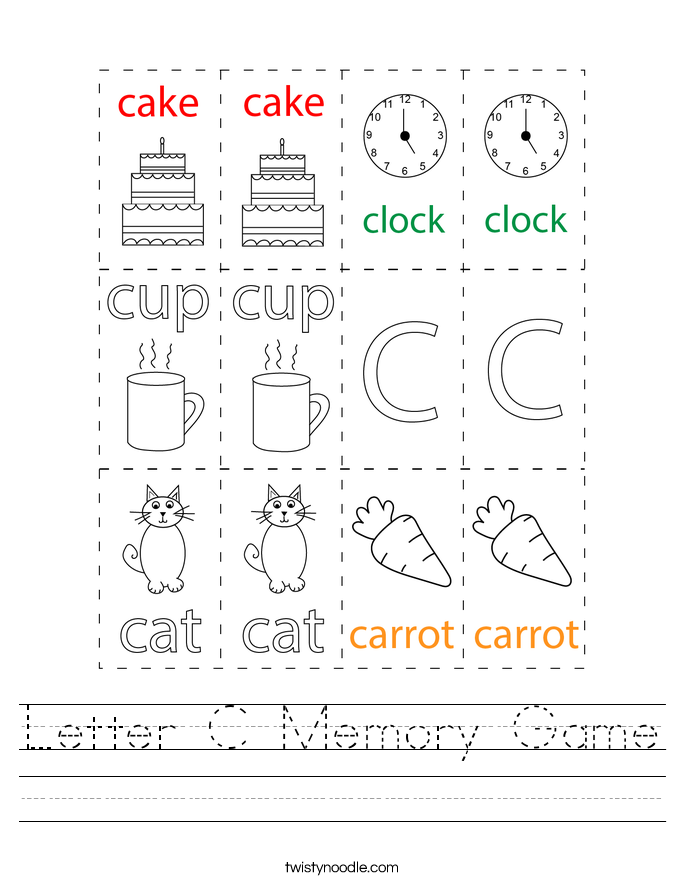 Letter C Memory Game Worksheet