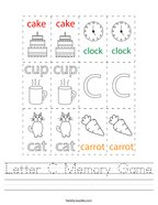 Letter C Memory Game Handwriting Sheet