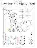 Letter C Placemat Coloring Page