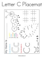 Letter C Placemat Coloring Page