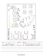 Letter C Placemat Handwriting Sheet