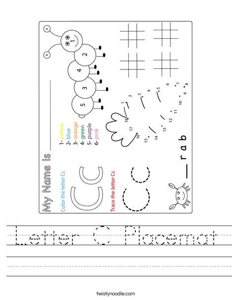 Letter C Placemat Worksheet
