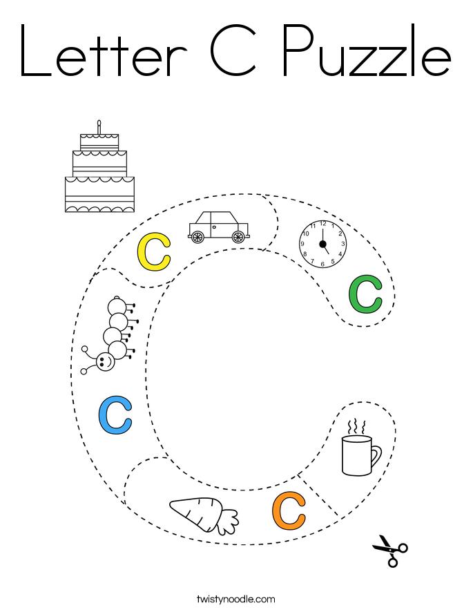Letter C Puzzle Coloring Page