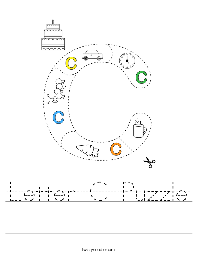 Letter C Puzzle Worksheet