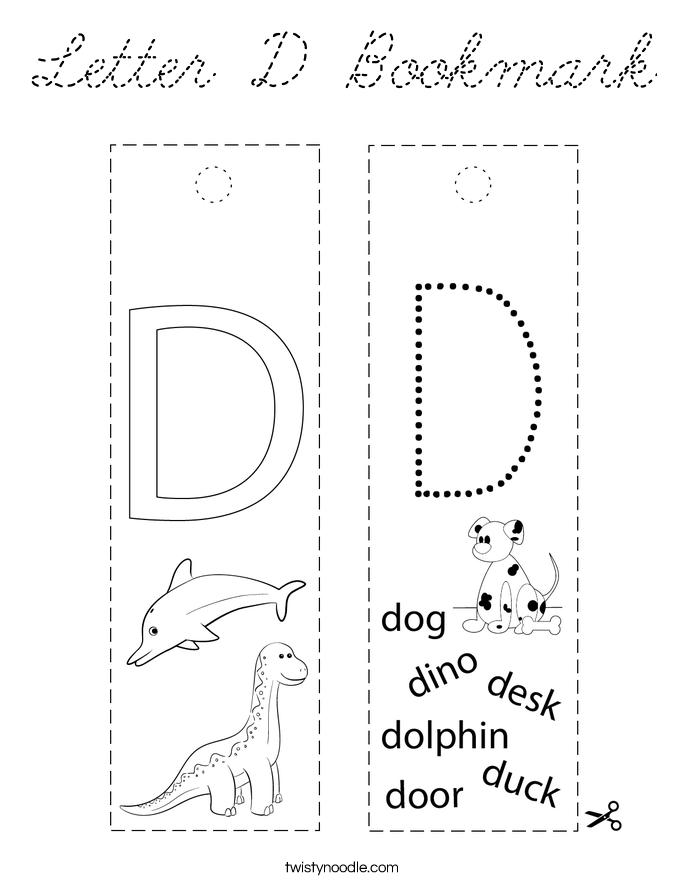 Letter D Bookmark Coloring Page - Cursive - Twisty Noodle