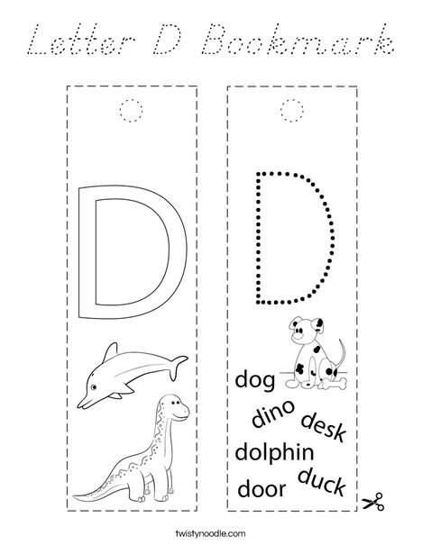 Letter D Bookmark Coloring Page