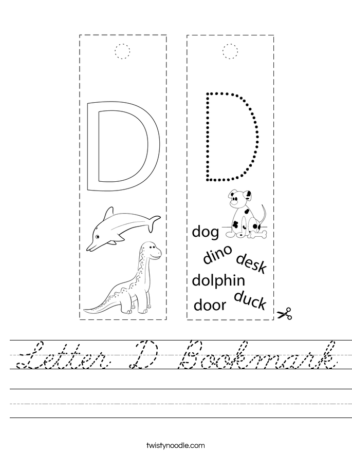 Letter D Bookmark Worksheet