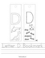 Letter D Bookmark Handwriting Sheet