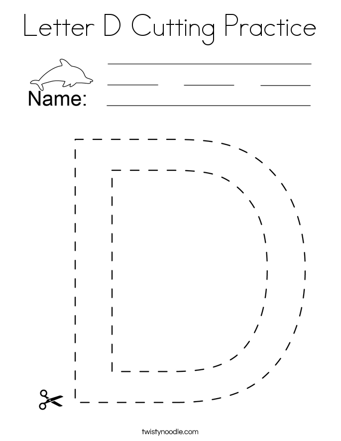 Letter D Cutting Practice Coloring Page