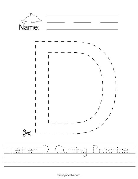 Letter D Cutting Practice Worksheet