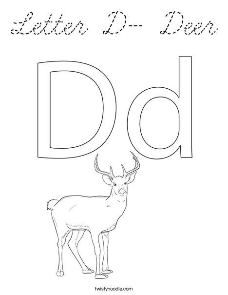 Letter D- Deer Coloring Page