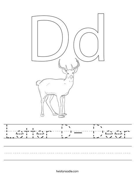 Letter D- Deer Worksheet