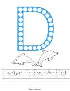 Letter D Do-A-Dot Handwriting Sheet
