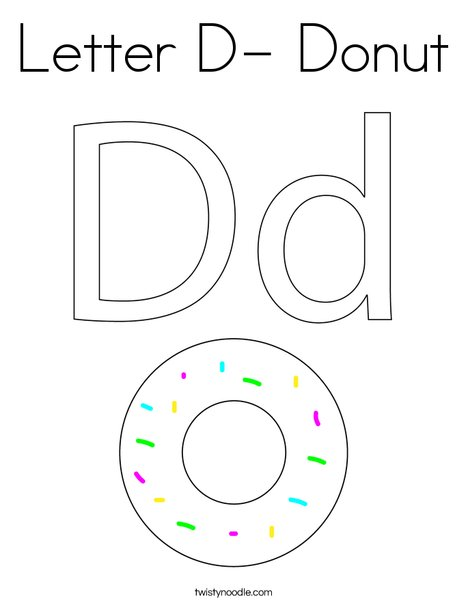 Letter D- Donut Coloring Page