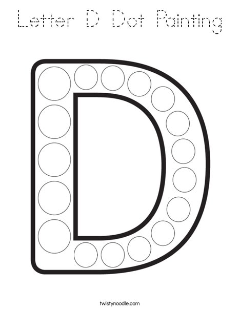 Letter D Dot Painting Coloring Page