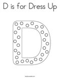 D is for Dress Up Coloring Page