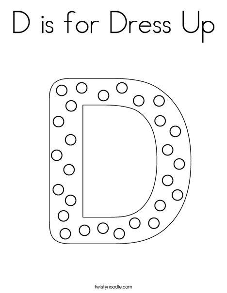 Letter D Dots Coloring Page