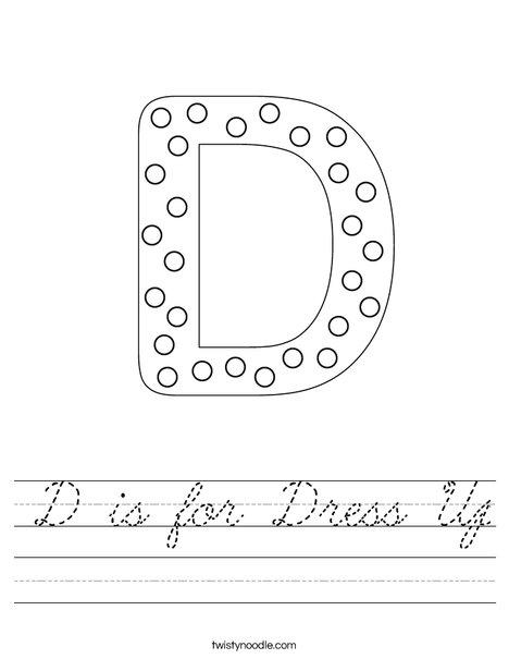 Letter D Dots Worksheet